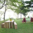 The latest home project: outdoor table and benches that look over Lake Michigan.