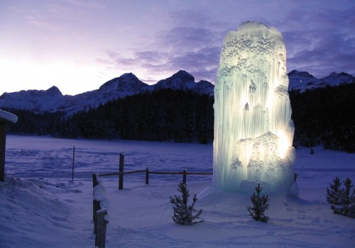Ice statue in winter