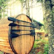 Cedar sauna and oars at the Trout Point Lodge.