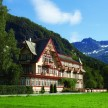 The Swiss-style hotel with its decorative carvings and gabled roof
