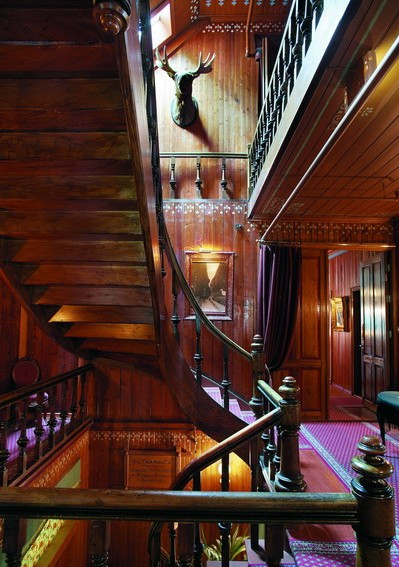 Wood-paneled staircase