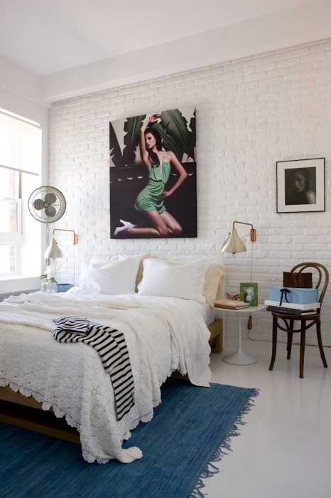 The Hamptons-inspired bedroom gets a jolt of high-fashion with this photo by photographer Maline Corpeardean for FASHION Magazine.