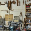A wall of tools Hayes' wood shop upstairs. A cool snippet: They use a lot of the same equipment that was in the original brush factory. Hayes picked it up at auction.