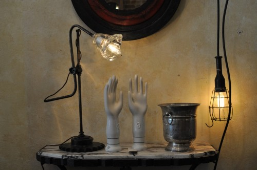 Task lights and glove molds, La Belle Nouvelle Orleans Antiques.