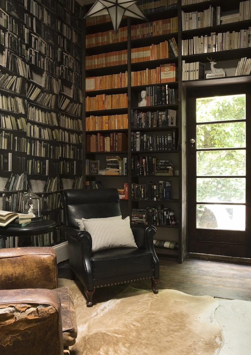 The Library Lounge With Genuine Fake Bookshelf Wallpaper By Deborah