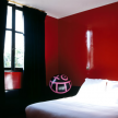 A boldly colored bedroom