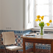 Portuguese tile work is found in the small dining area of the Fronteira apartment.
