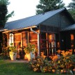 The back of the cottage at dusk.