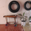 The rolling xylophone and a pair of tire tubes. And those gorgeous shiny mosaic planters.
