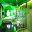One of the 10 capsule-like Pantone rooms. This one, Green.