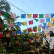 Colorful prayer flags strung through the park, outside the old church in town.