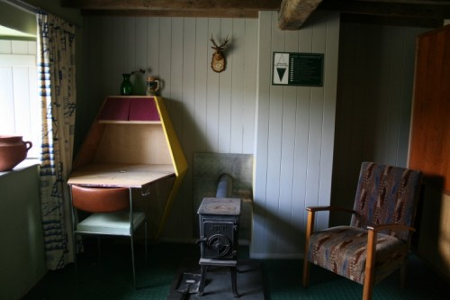 The parlor, which was designed by Bryan and Laura Davies as part of an on-site art project.