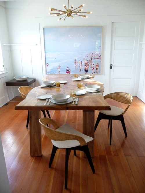 Cedar-slab dining room table designed and hand-built by Chinese Jesus