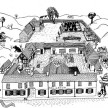 The great, new drawings of the inn, courtyard and surroundings on The Crown's website.